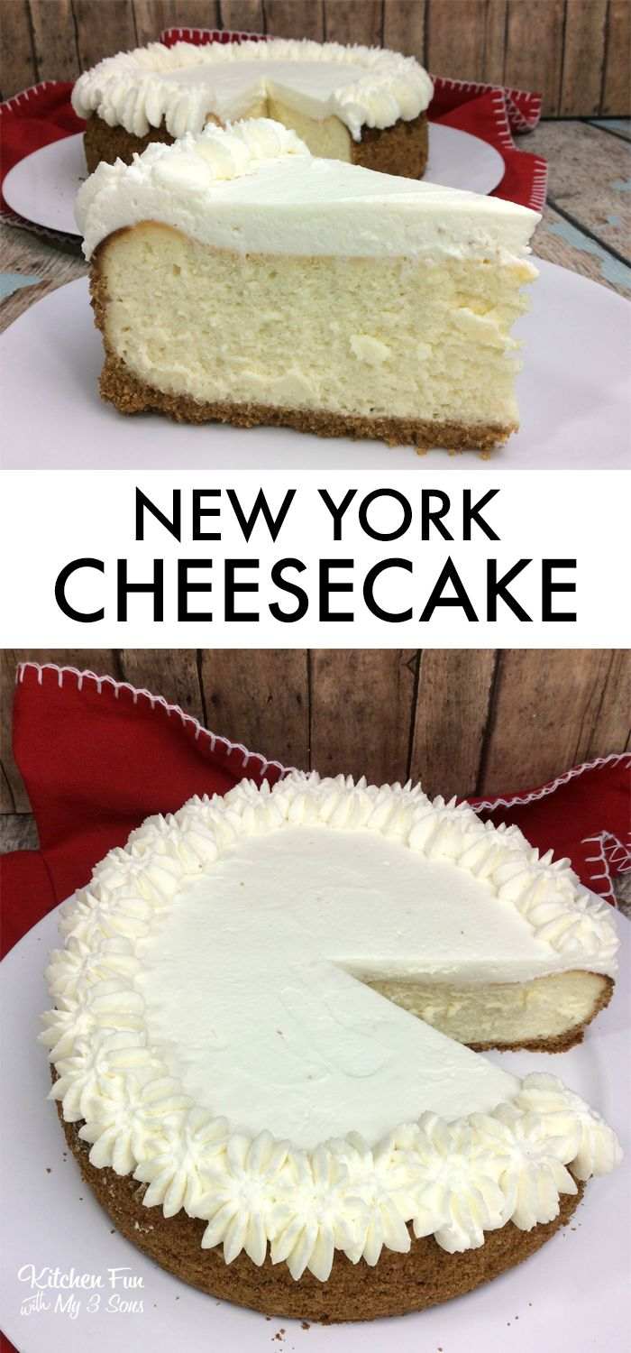 Delicious New York Cheesecake recipe with a graham cracker crust. #cheesecake