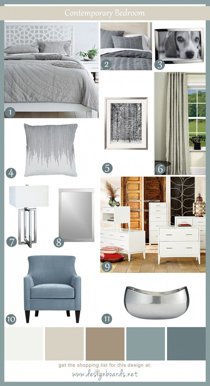 Contemporary Bedroom 1   Design Boards - - awesome site for design inspiration or guidance.