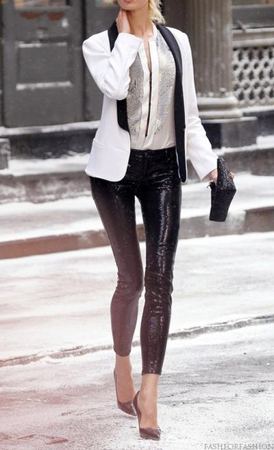 sequin pants & white tux jacket