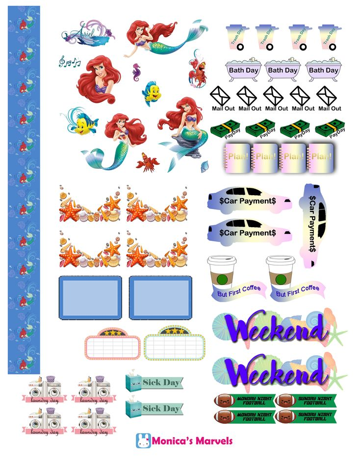 """""""sticker kit"""" Little Mermaid functional sheet(the happy planner by MAMBI) sticker. Free printable sticker layout may be subject to copyright not intended for retail; personal use only"""