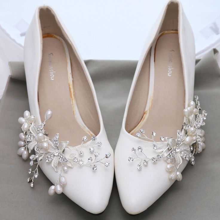 Flower Pearl Rhinestone Crystal Wedding Bridal Shoe Clips Pair #Unbranded…