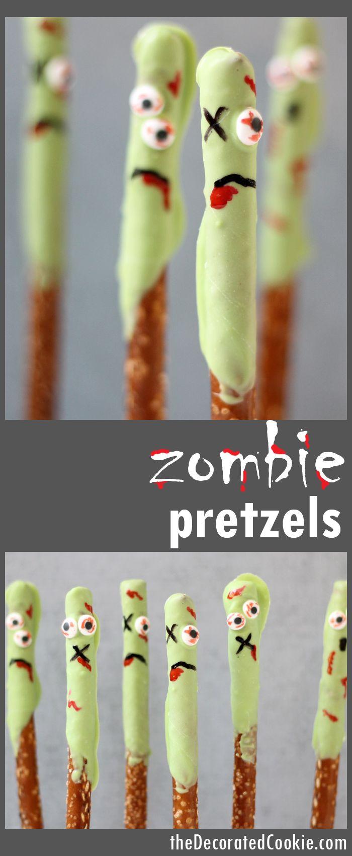 ZOMBIE pretzels! An easy Halloween treat -- The Walking Dead fun food idea