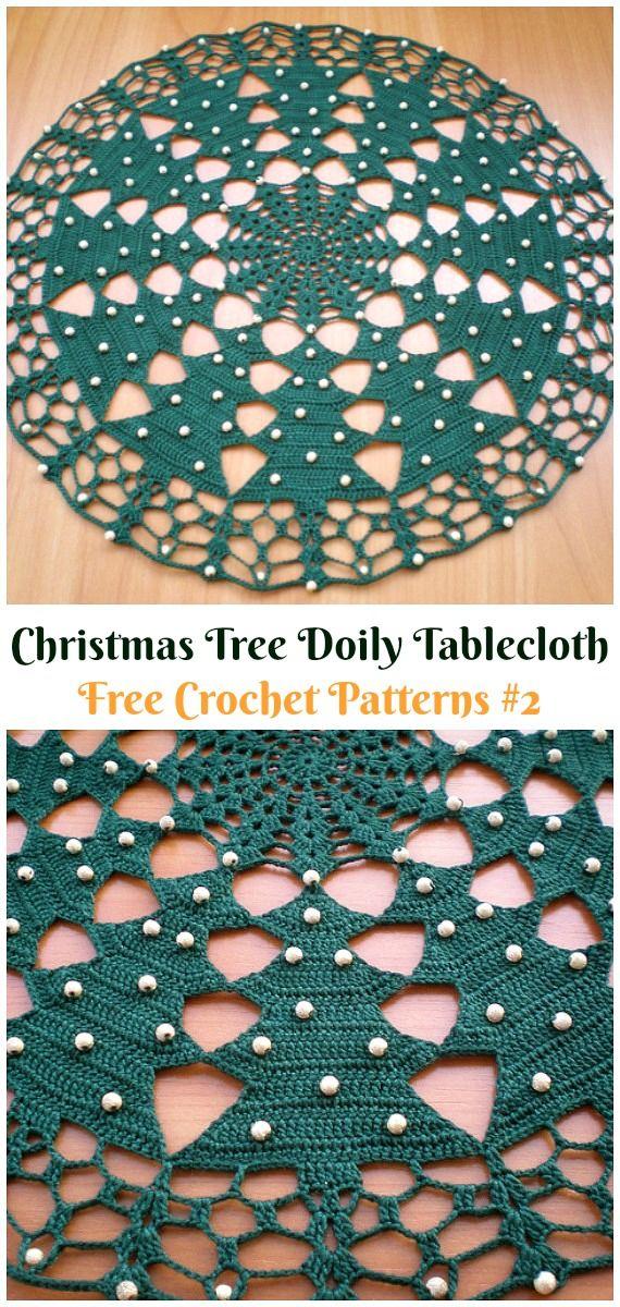 Christmas Tree Doily Tablecloth Free Crochet Pattern - #Christmas ...