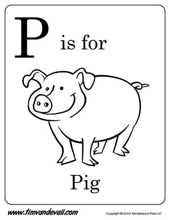 p is for pig letter p coloring page - Letter P Coloring Sheet