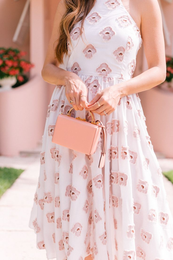 Gal Meets Glam Pink in Palm Beach Caroline Constas Dress, Urban Outfitters Sunglasses, Mark Cross Bag, Carrie Forbes Sandals