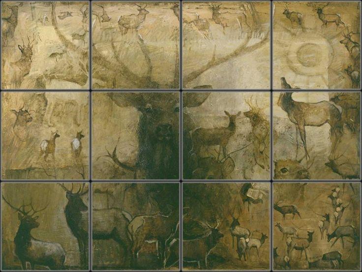 Elk tile murals | East Fork Elk Tile Mural | Pacifica Tile Art Studio