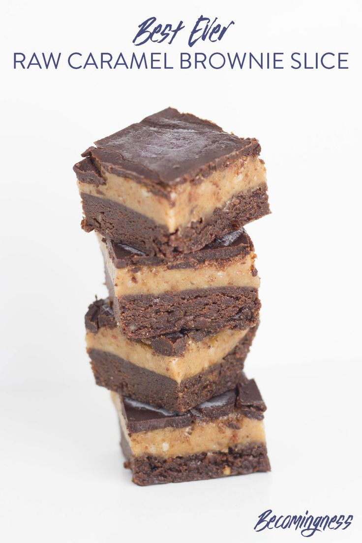 What can I say about this Raw Caramel Brownie Slice!  It is one of the best ever recipes that I have created on Becomingness! Hands down!  My Raw Caramel Brownie Slice is gluten, dairy and refined sugar free (as always) and suitable for paleo and vegan lifestyles