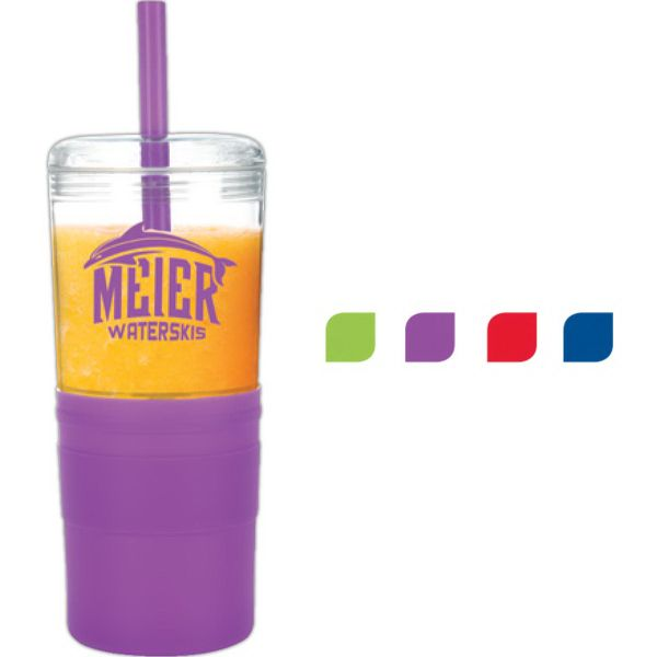 21 oz. Keep Cool Tumbler. Intended for cold beverage use only, this single wall tumbler is great for smoothies and features a colored silicone grip with silicone straw.