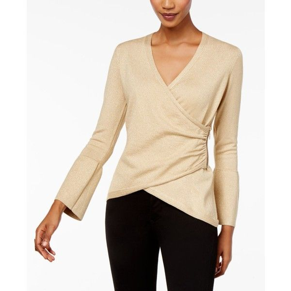 Thalia Sodi Bell-Sleeve Wrap Sweater, Created for Macy's ($42) ❤ liked on Polyvore featuring tops, sweaters, sweater gold, zip top, rouched top, beige sweater, short tops and bell sleeve tops