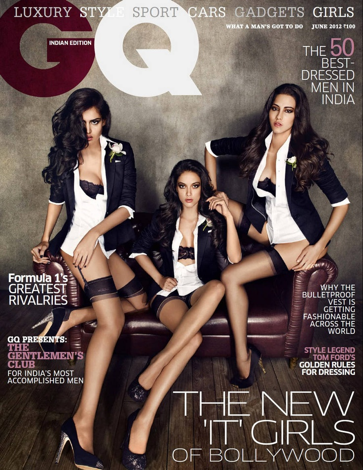 GQ India June 2012  Angelo Jonsson, Mallika Haydon and Nathalia Kaur [I tried w/o luck finding a version absent of the tags]