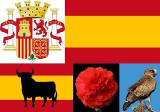 Pe lângă blazon / stemă, drapelul și imnul de stat, simbolurile naționale ale Spaniei includ taurul, garoafa și vulturul cu degete scurte (ș...