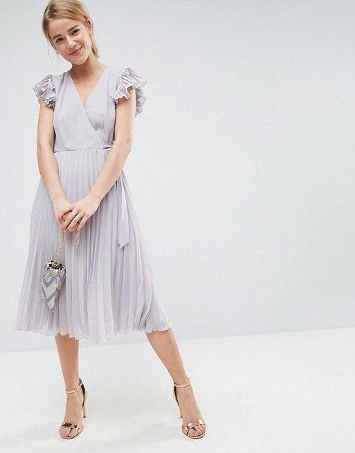 Lavender Pleated Midi Dress with Flutter Sleeve  ad  weddingguest  weddings   weddingstyle  bridesmaids  bridesmaidresses. ASOS ... 1051002e2