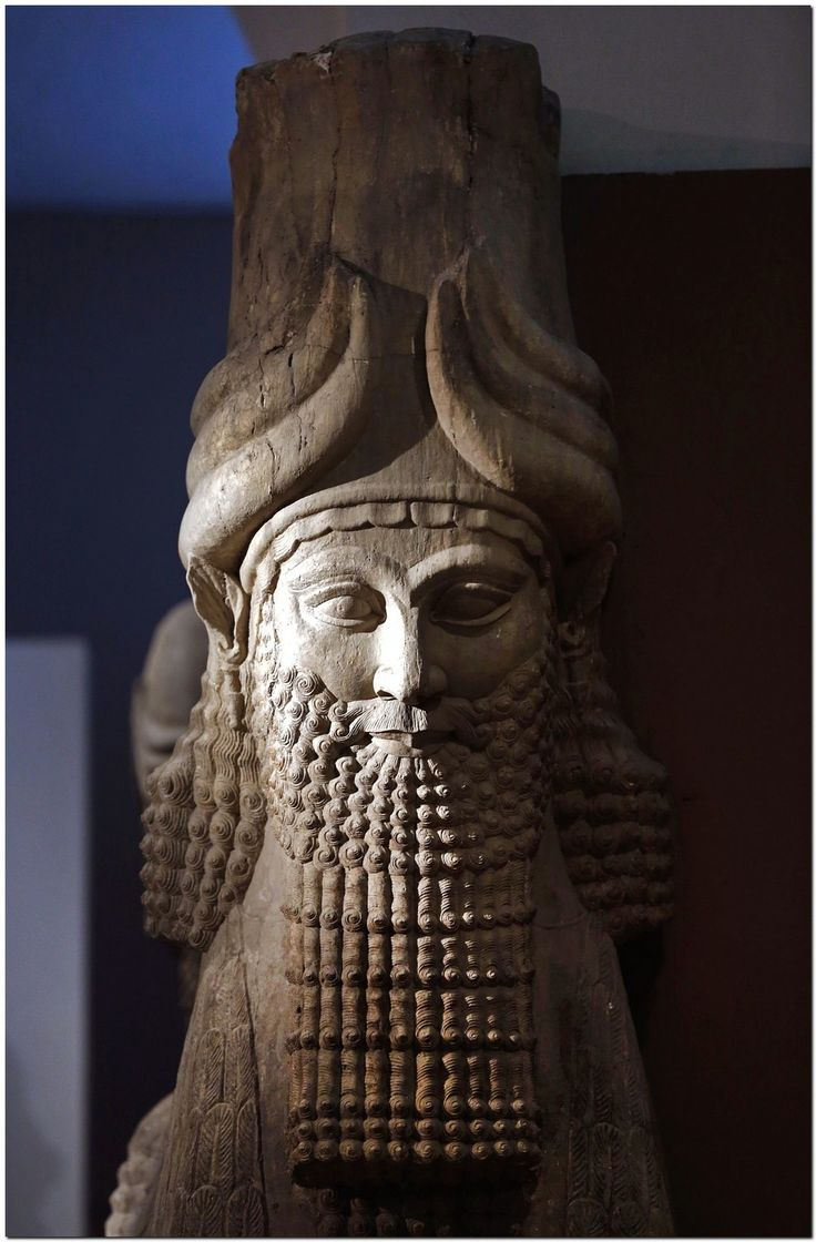 The human head of an Assyrian human headed winged bull is seen displayed at the Iraqi national museum in Baghdad September 24, 2008. In Iraq's national museum, a frieze shows an Assyrian king, whose former capital is now in modern Iraq, besieging what looks like a walled town as soldiers pile decapitated heads at his feet.