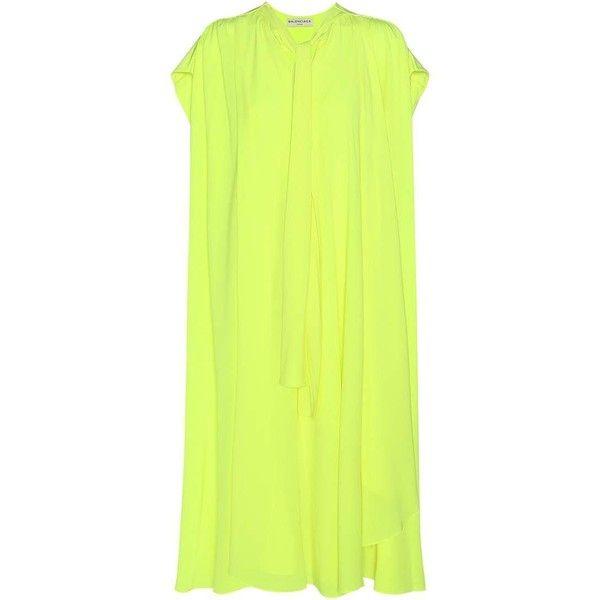 Balenciaga Silk Dress (€2.325) ❤ liked on Polyvore featuring dresses, yellow, balenciaga dress, yellow silk dress, balenciaga, neon yellow dress and neon dresses