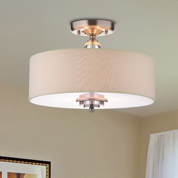 The giovanna satin nickel crystal decorated shade flushmount chandelier is crafted from high quality iron with a luxurious nickel finish this elegant light