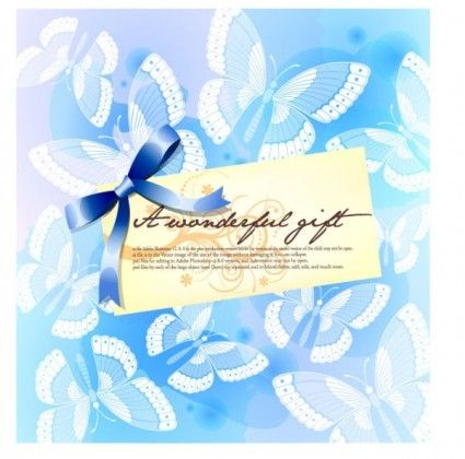 butterfly pattern background card template vector 1