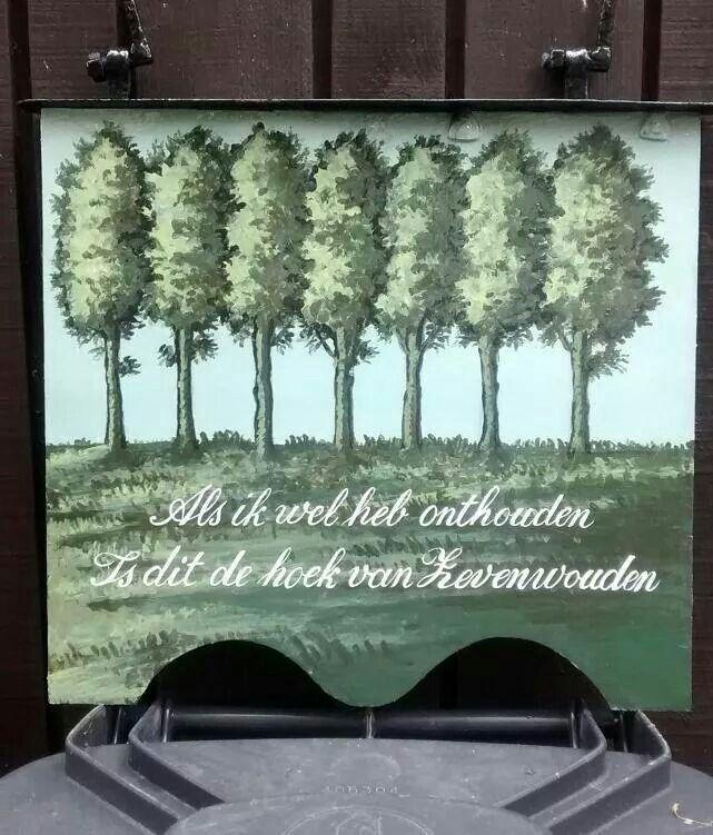 Uithangbord Cafe Zevenwouden in Terherne. Schilderwerk: Theunis van der Meer