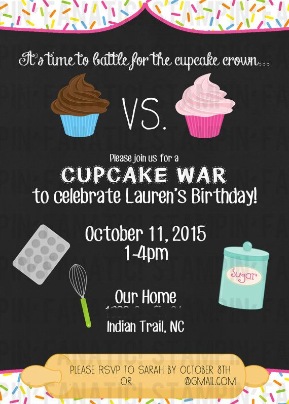 Cupcake War Collection: 5x7 invites Baking Theme by stampinfanatic