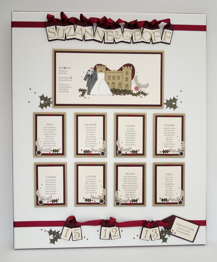 Christmas Wedding Table Plan Featuring Clearwell Castle And Reindeers