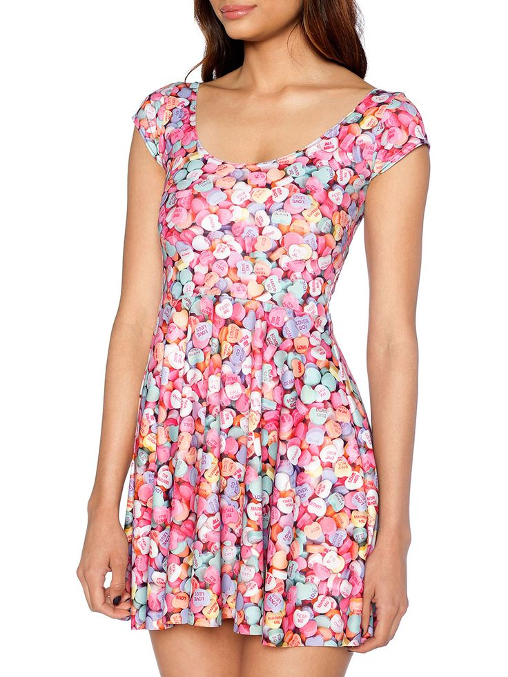 Candy Hearts Cap Sleeve Skater Dress (WW 48HR - $90AUD / US - LIMITED $72USD) by Black Milk Clothing
