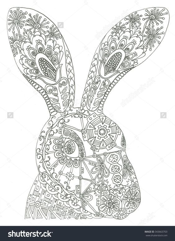 adult coloring colouring coloring pages stress rabbit bunny coloring book chance livros colouring in