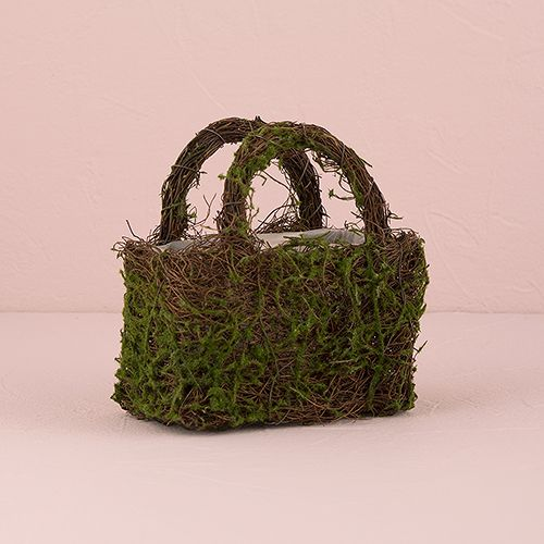 Faux Moss and Wicker Basket with Handles and Liner - The Knot Shop