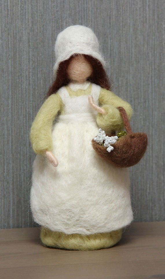 Needle felted standing doll Shepherdess with flowers. Waldorf