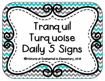 This is a set of signs for the Daily 5.All 5 center signs and a daily 5 sign are included in the chevron, stripes, and quatrefoil backgrounds.More Tranquil Turquoise Decor Check out my store for more classroom dcor!