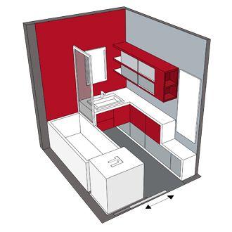 Salle de bains rectangulaire de 4m² avec une douche à la place de la baignoire
