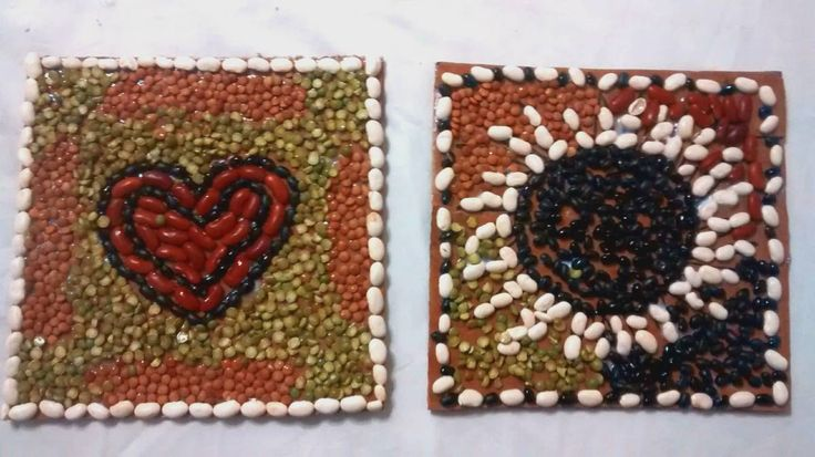 Mosaics Process Art Crafts Ideas Using Beans Pinterest