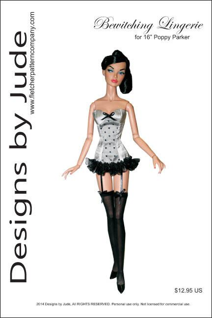 Bewitching Lingerie,  the pattern includes a fitted corset with back snap closure, panties and thigh high stockings.