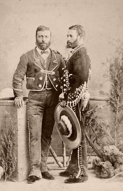 """Mexican gentlemen by ookami_dou, via Flickr; from an 1860's album of Mexican occupations made by the studio """"Cruces y Campa"""" in the 1860s."""