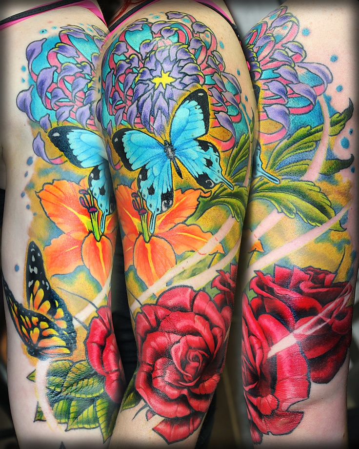 Colourful floral 1 2 sleeve tattoo tim ashman tattoos for Japanese wave and flower tattoo