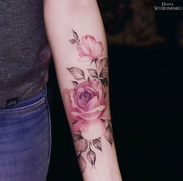 Realistic rose color tattoo