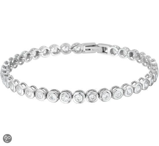 The Jewelry Collection Armband Zirkonia 4,5 mm 18,5 cm - Staal