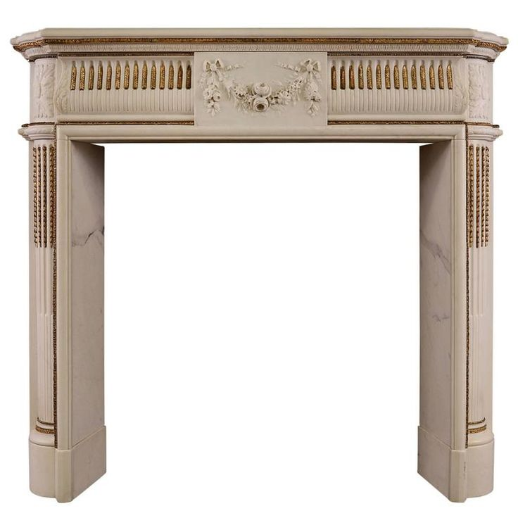 English Regency Statuary Marble Fireplace With Inlaid Brass Ormolu