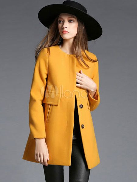 Trench Women Coat Long Sleeve Yellow Coa…