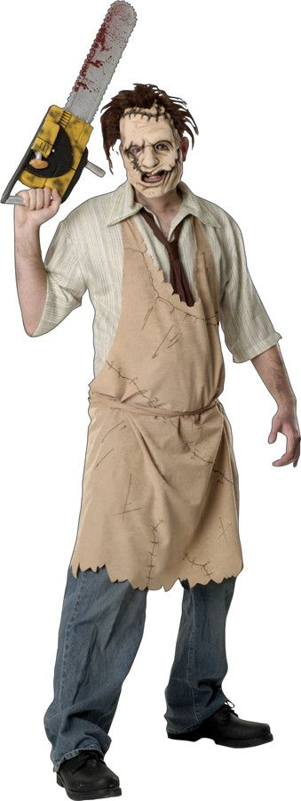 Men's Costume: LeatherfaceEVA mask with hair, printed apron with shirt and tie. Standard size fits men up to size 44.Size: OSFMAge: AdultGender: Male ? & (c) Vortex, Inc./Kim Henkle/Tobe Hooper