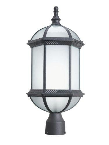 Woodbridge Lighting 61036Wl-Bkp Glenwood 1-Light Outdoor Post Mount, Powder Coat Black  Cast aluminum energy saving #outdoor fixture with powder coated finish for stronger and longer surface protection. UL/cUL listed for damp locations. Self-ballast compact #fluorescent-bulb is included.  Features : 10-Inch width by 22.75-Inch height by 8.75-Inch extension *#Frosted glass *Requires one (1) 26-Watt GU24 base bulb (included) *UL/cUL listed for damp locations