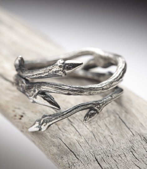 Unique engagement ring. :) elvish twine: dark sterling silver twig ring $70