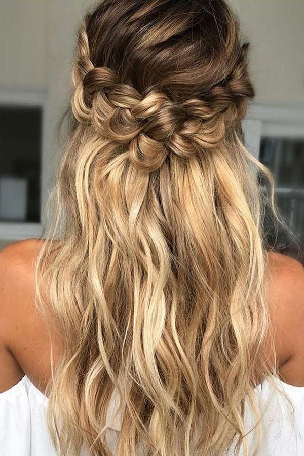 35 Beautiful Braided Hairstyles Long Hair Updo Loose Curls Hairstyles Simple Prom Hair