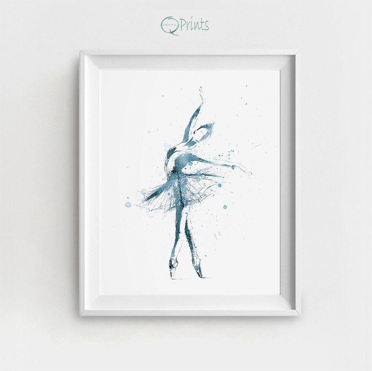 Ballerina Art Print, Digital Ballerina, Ballerina Printable, Blue Ballet Art, Watercolor Ballerina, DIY Wall Art, Large Wall Printable by QPrints on Etsy https://www.etsy.com/au/listing/484868849/ballerina-art-print-digital-ballerina