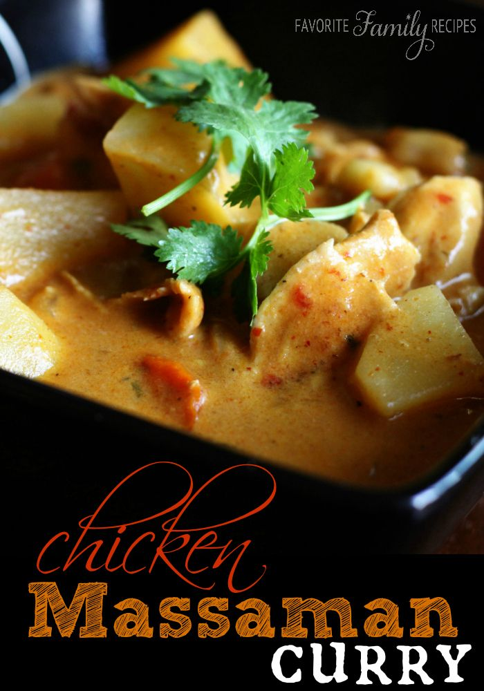 Chicken Massaman Curry is one of my FAVORITE curry dishes.  Find all our yummy pins at https://www.pinterest.com/favfamilyrecipz/