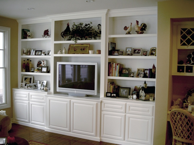 custom bookcase and tv wall unit alcove