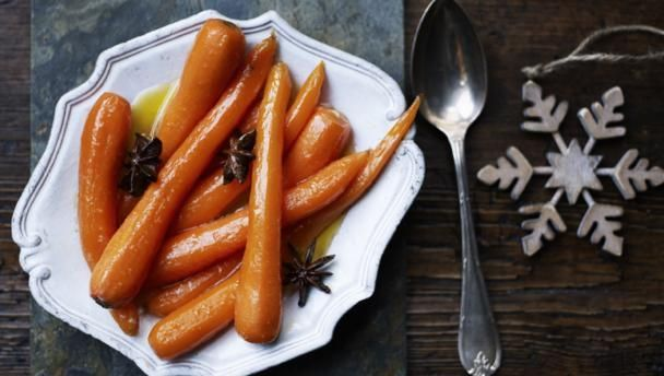 Christmas carrots |      A great way to brush up the humble carrot. Star anise adds a touch of Christmas spice to the sweet buttery glaze.