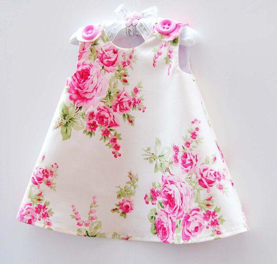 Aline Girls Dress - Barefoot Roses - Baptism Dress - Children Dress - Victorian Style - Country Wedding - Children Clothing - 3m to 4T via Etsy