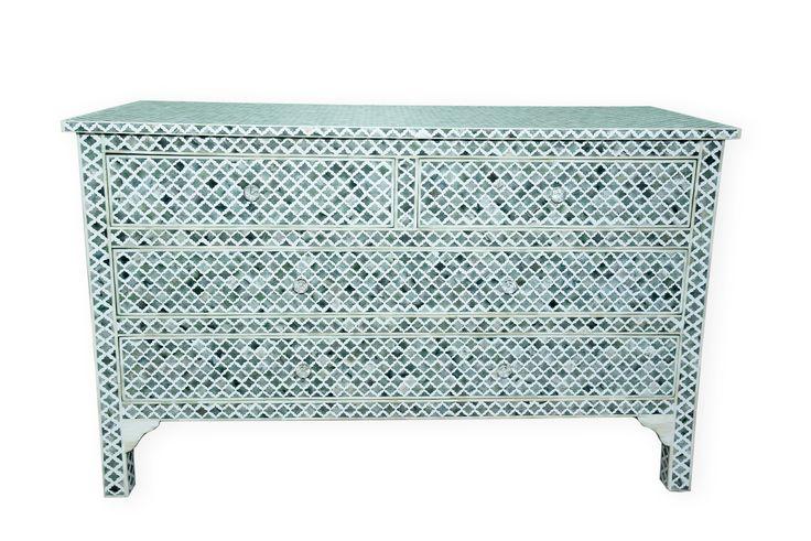 bone inlay chest of 4 drawers