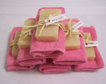 It's a Girl  - Baby shower favors - 30 mini soaps and towel set. Several towel colors available.