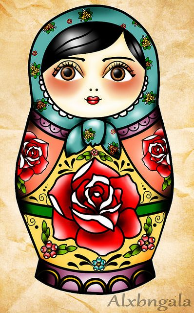 Matryoshka- I love this. It looks as though you could transfer it onto a wooden doll and use dye to create the colours.