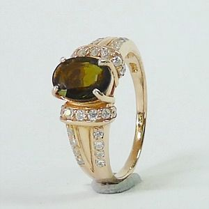 0.90 CT.Earth Mined Green Toumaline in Rose Gold Plated over Silver Ring Size:P-7.5        RI204